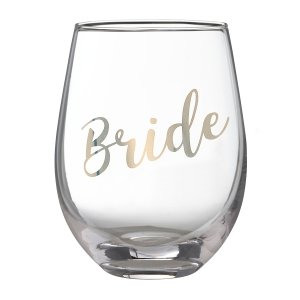 Gold Bride Stemless Wine Glass image
