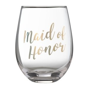 Gold Maid of Honor Stemless Wine Glass image