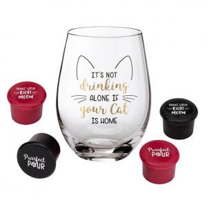 Cat Lover Wine Glass with Funny Saying and 4 Wine Bottle Sto image