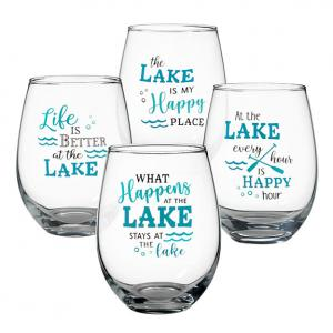 At the Lake Set of 4 Stemless Wine Glasses image