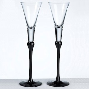 Black Stem Tall Toasting Flutes image