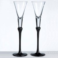 Black Stem Tall Toasting Flutes