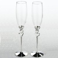 Silver Heart Wedding Flutes Set
