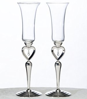 Dangling Jewel Toasting Glasses for Weddings image