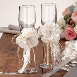 Burlap and Lace Toasting Glasses image