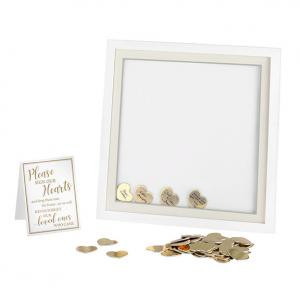 White Guest Book Alternative Signing Frame with 48 Gold Hear image