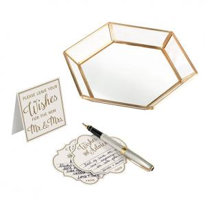 Guest Book Alternative Set with 48 Wish Cards and Gold Geome image