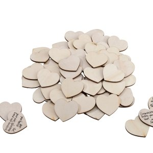 Wooden Signing Hearts - Set of 48 image