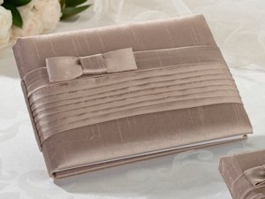 Taupe Bow Pleated Silk Guestbook image