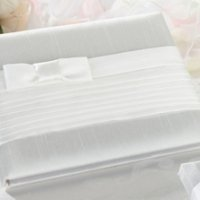 White Bow Pleated Silk Guestbook