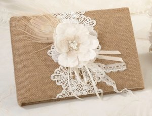 Burlap and Lace Wedding Guest Book image