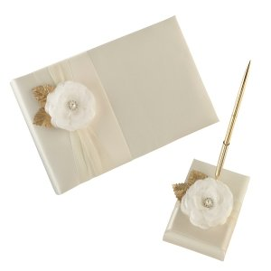 Cream Rose Guest Book & Pen Set image