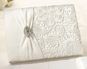 Cream Vintage Lace Wedding Guestbook image