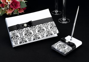 Black Damask Guest Book & Pen Set image
