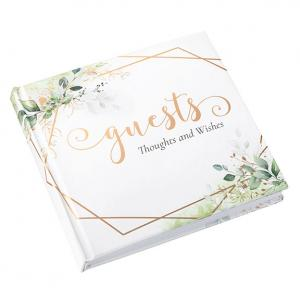 Botanical and Geometric Guest Book with Gold Accents image