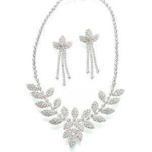 Rhinestone Leaf Necklace and Earring Set image