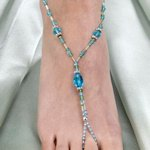 Beaded Aqua Foot Jewelry - One Pair