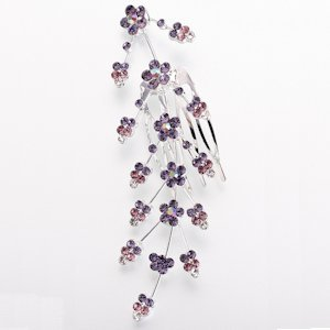 Lilac Large Jeweled Hair Comb image