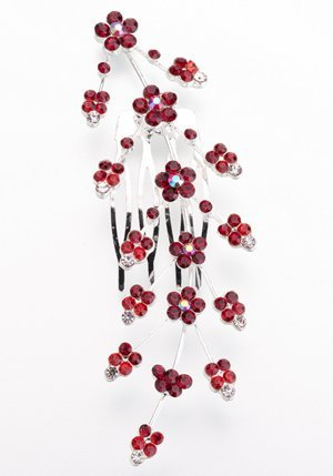 Red Large Jeweled Hair Comb image