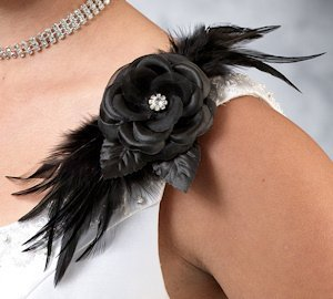 Flower and Feather Black Clip or Pin image