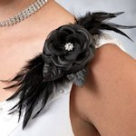 Flower and Feather Black Clip or Pin