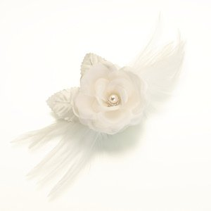 Feather and Flower Ivory Pin or Clip image
