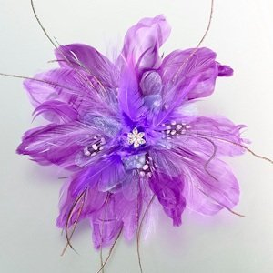 Feather Hair Clip-Purple image