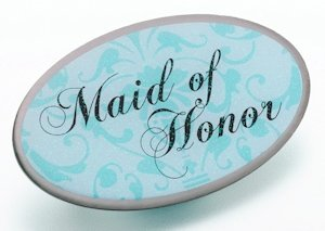 Maid/Honor Pin - Oval Aqua image