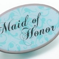 Maid/Honor Pin - Oval Aqua
