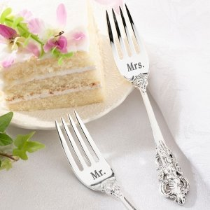 Mr. and Mrs. Silver Wedding Forks Set image