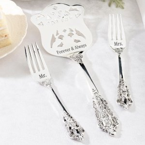 Mr. & Mrs. Silver Server and Fork Set image