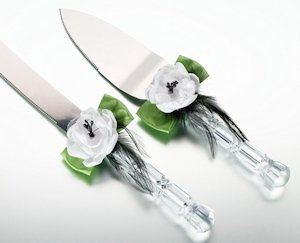Green & Black Knife & Server Set image
