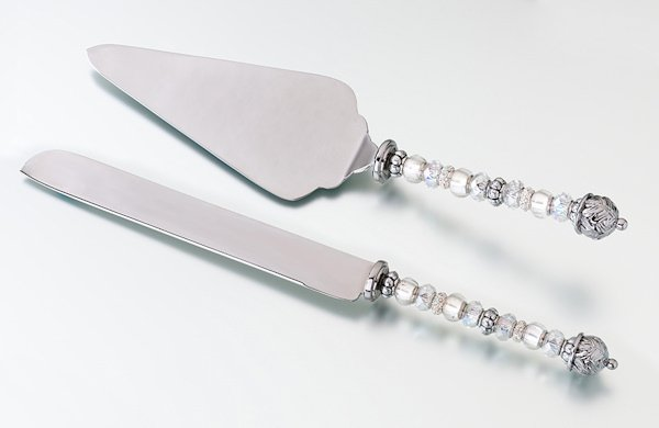beaded wedding cake knife and server set. Black Bedroom Furniture Sets. Home Design Ideas
