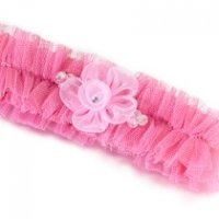 Tulle Garter with Flower-Pink