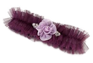 Tulle Garter with Flower-Plum image