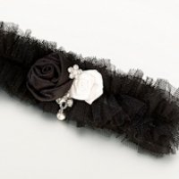 Tulle Garter with Jewel-Black