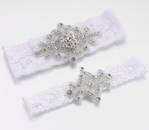 Jeweled Garter Set (White or Ivory) image