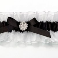 Black & White Vines Satin Garter