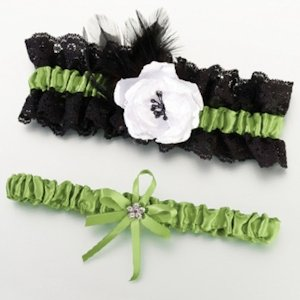 Green & Black Garter Set image