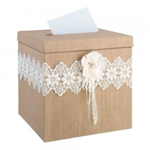 Burlap and Lace Card Box image