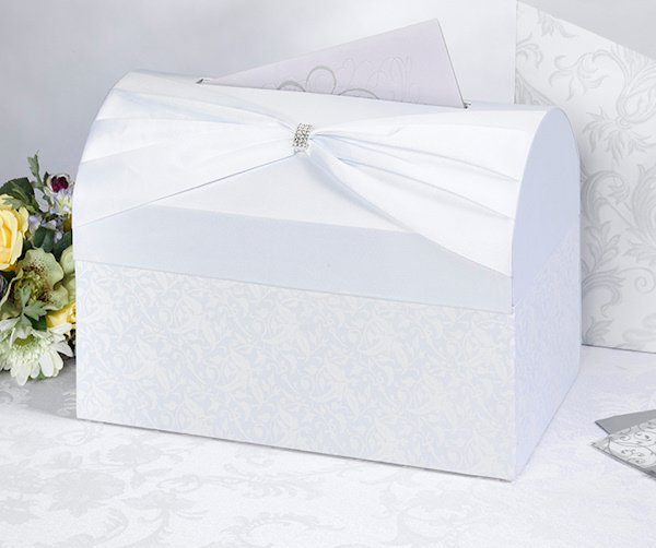 Gift Card Box For Wedding Reception: White Sash Wedding Reception Gift Card Box