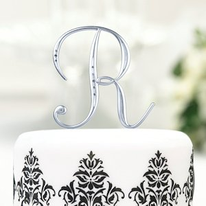 Silver Rhinestone Initial Cake Toppers for Weddings image