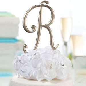 Gold Monogram Letter Wedding Cake Topper Pick image