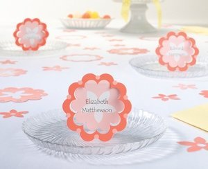 Coral Flower Place Cards (Set of 12) image