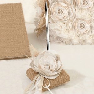 Burlap and Lace Pen Set image