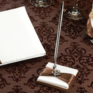 Jeweled Brown Bow Pen Set image