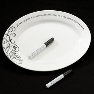 Oval Ceramic Wedding Guest Signature Plate image