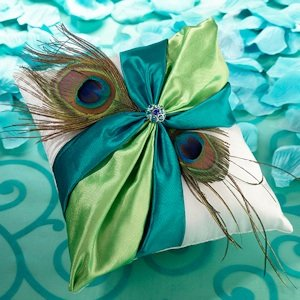 Peacock Flair Wedding Ring Pillow image