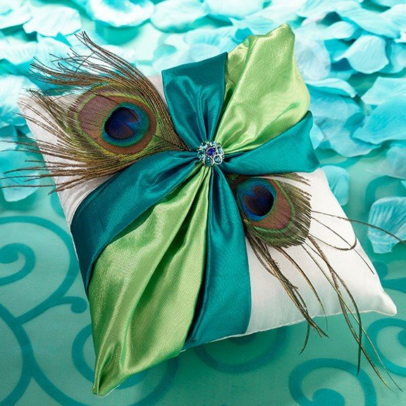 Peacock Wedding Gifts: Peacock Flair Wedding Ring Pillow