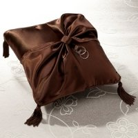 Brown Satin Ring Bearer Pillow